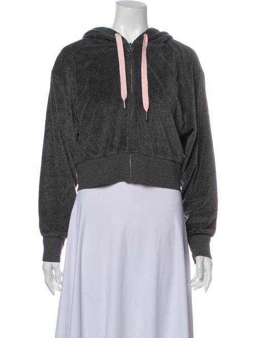Sandy Liang V-Neck Long Sleeve Sweatshirt Grey