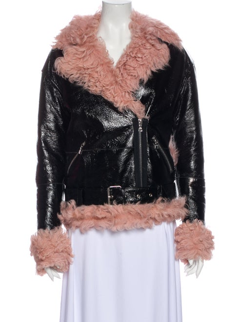 Sandy Liang Shearling Biker Jacket Black