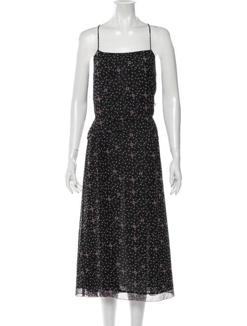 Sandy Liang Floral Print Midi Length Dress Black