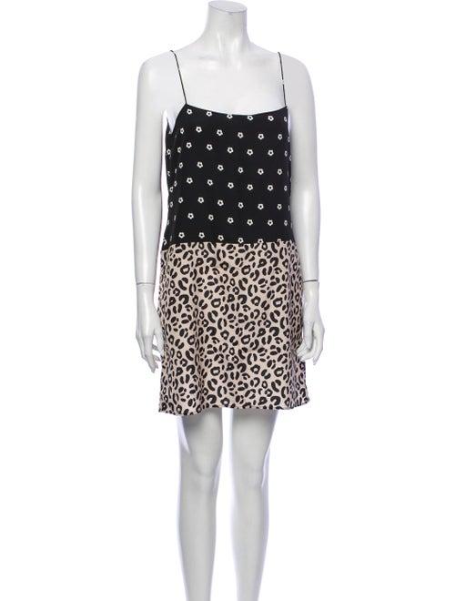 Sandy Liang Animal Print Mini Dress Black
