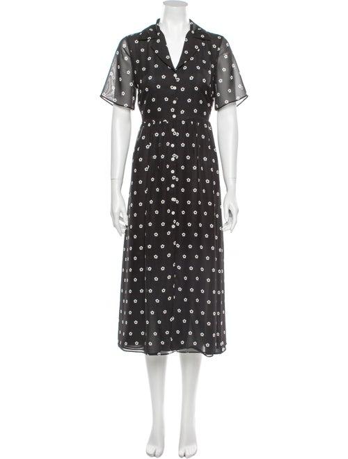 Sandy Liang Floral Print Long Dress Black