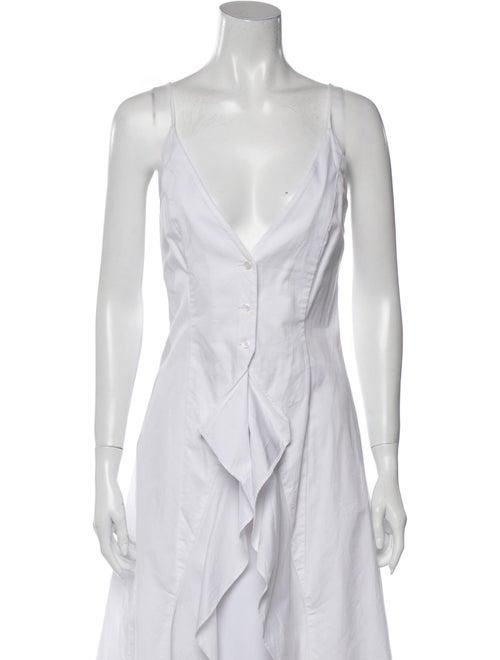 Sandy Liang V-Neck Sleeveless Button-Up Top White