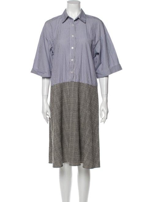 Sandy Liang Striped Midi Length Dress Blue
