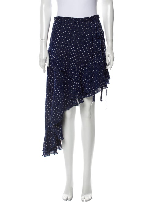 Sandy Liang Silk Midi Length Skirt Blue