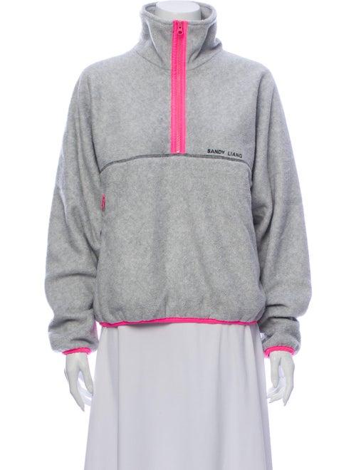 Sandy Liang Turtleneck Long Sleeve Sweatshirt Grey