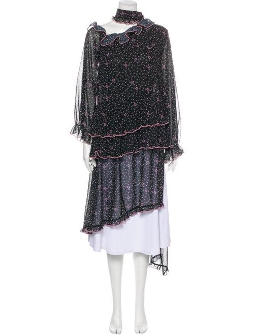 Sandy Liang Floral Print Mock Neck Tunic Black