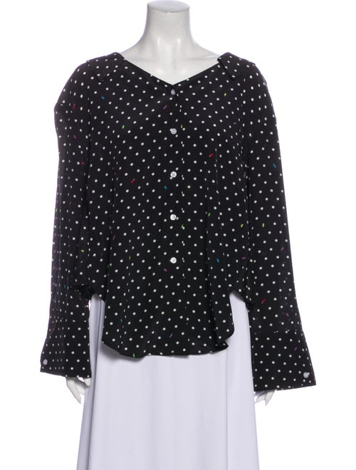 Sandy Liang Silk Polka Dot Print Blouse Black