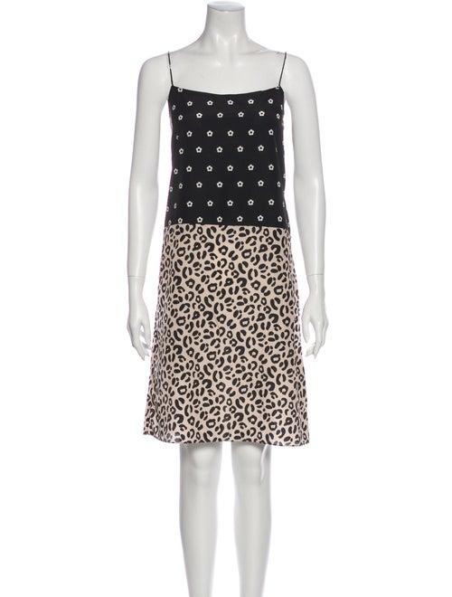 Sandy Liang Animal Print Knee-Length Dress Black
