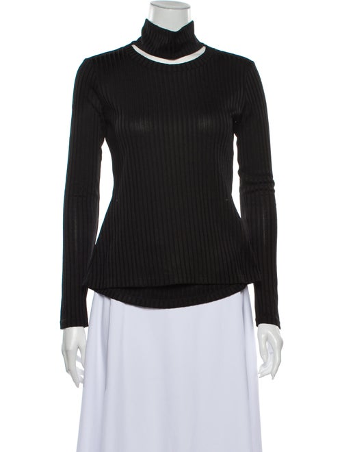 Sandy Liang Turtleneck Long Sleeve Top Black