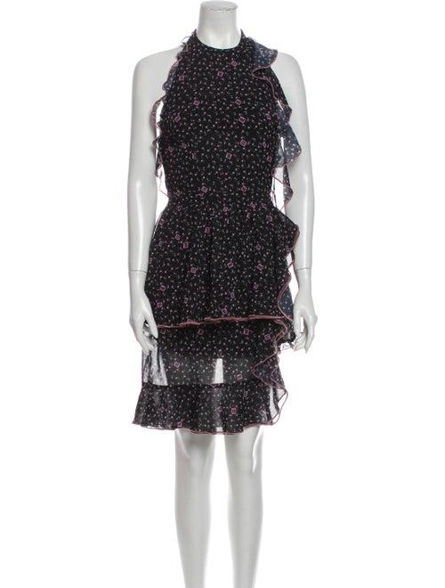 Sandy Liang Floral Print Mini Dress Black