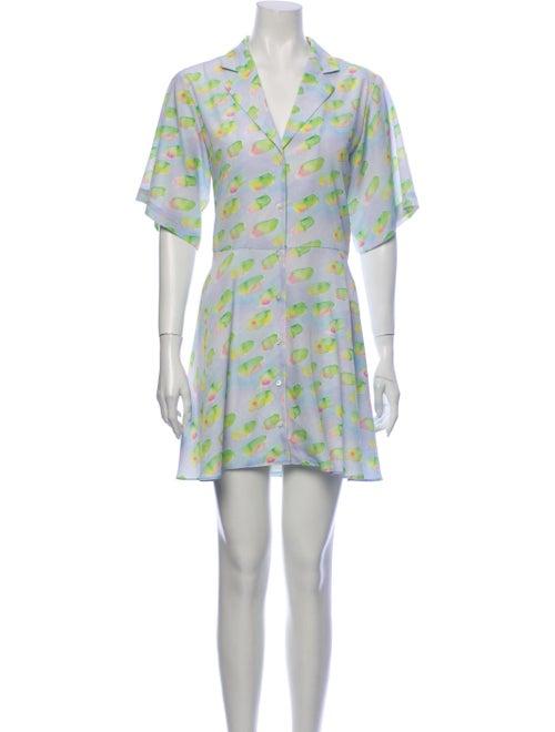 Sandy Liang Printed Mini Dress Green