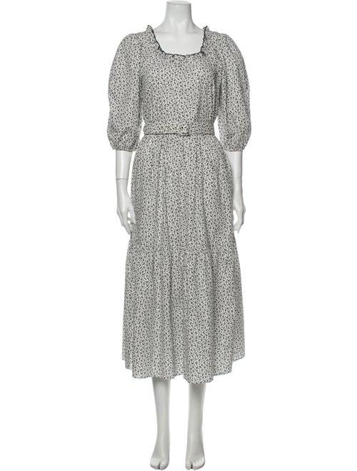 Sandy Liang Floral Print Long Dress White