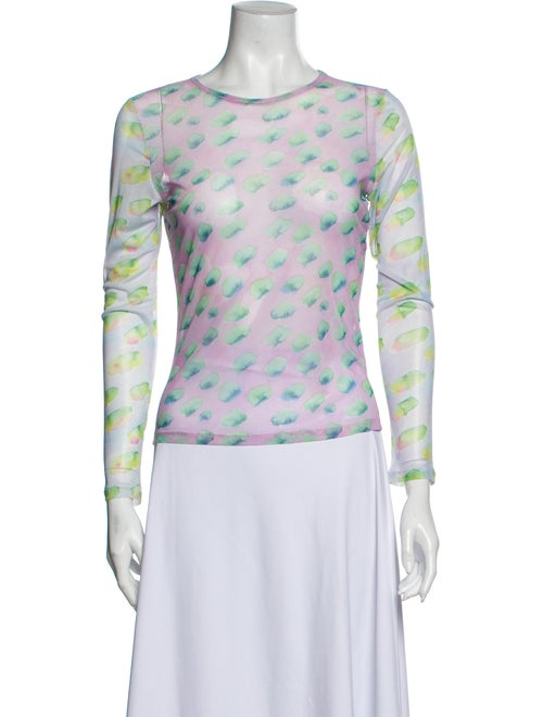 Sandy Liang Printed Crew Neck Top Blue