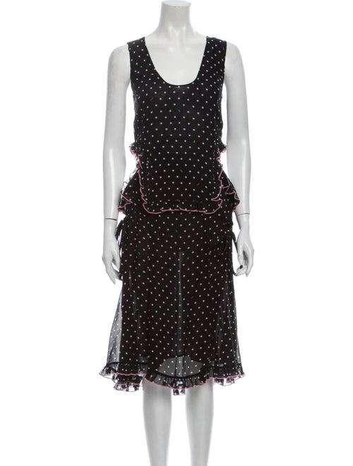 Sandy Liang Silk Midi Length Dress Black
