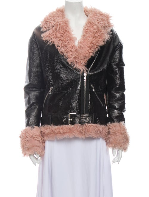 Sandy Liang Shearling Faux Fur Jacket Black