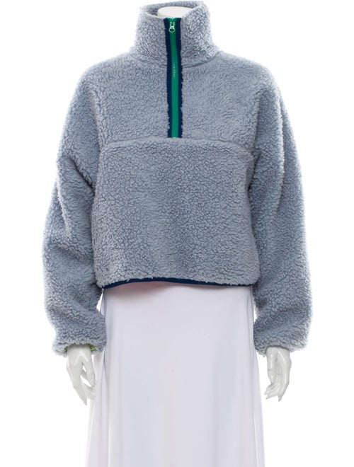 Sandy Liang Mock Neck Long Sleeve Sweatshirt Blue