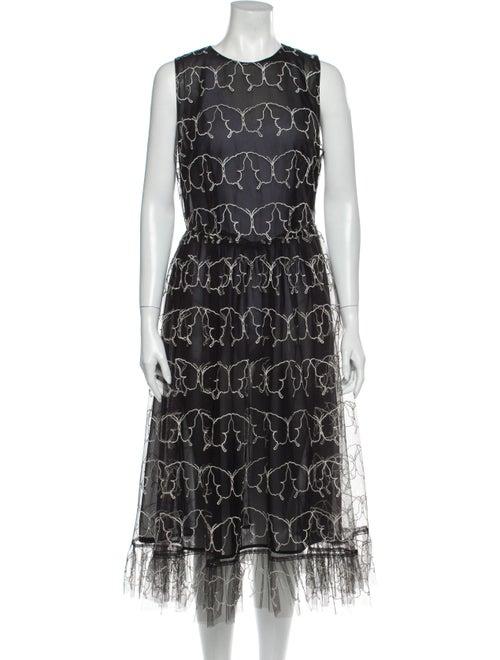 Sandy Liang Printed Long Dress Black