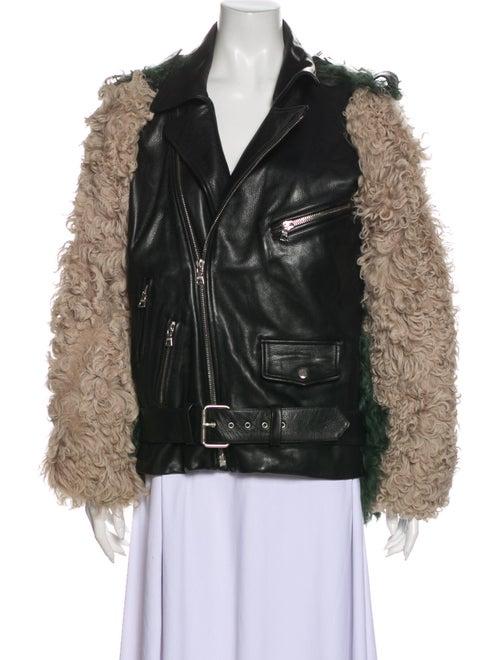 Sandy Liang Leather Biker Jacket Black