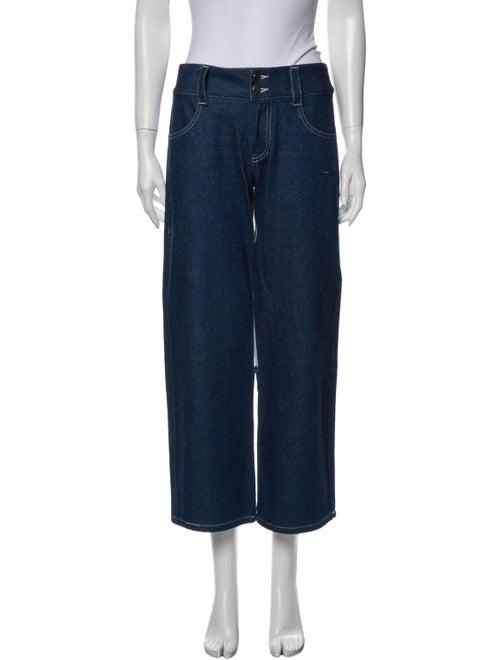 Sandy Liang Mid-Rise Wide Leg Jeans Blue