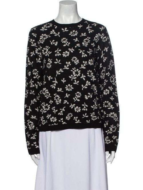 Sandy Liang Merino Wool Floral Print Sweater Wool
