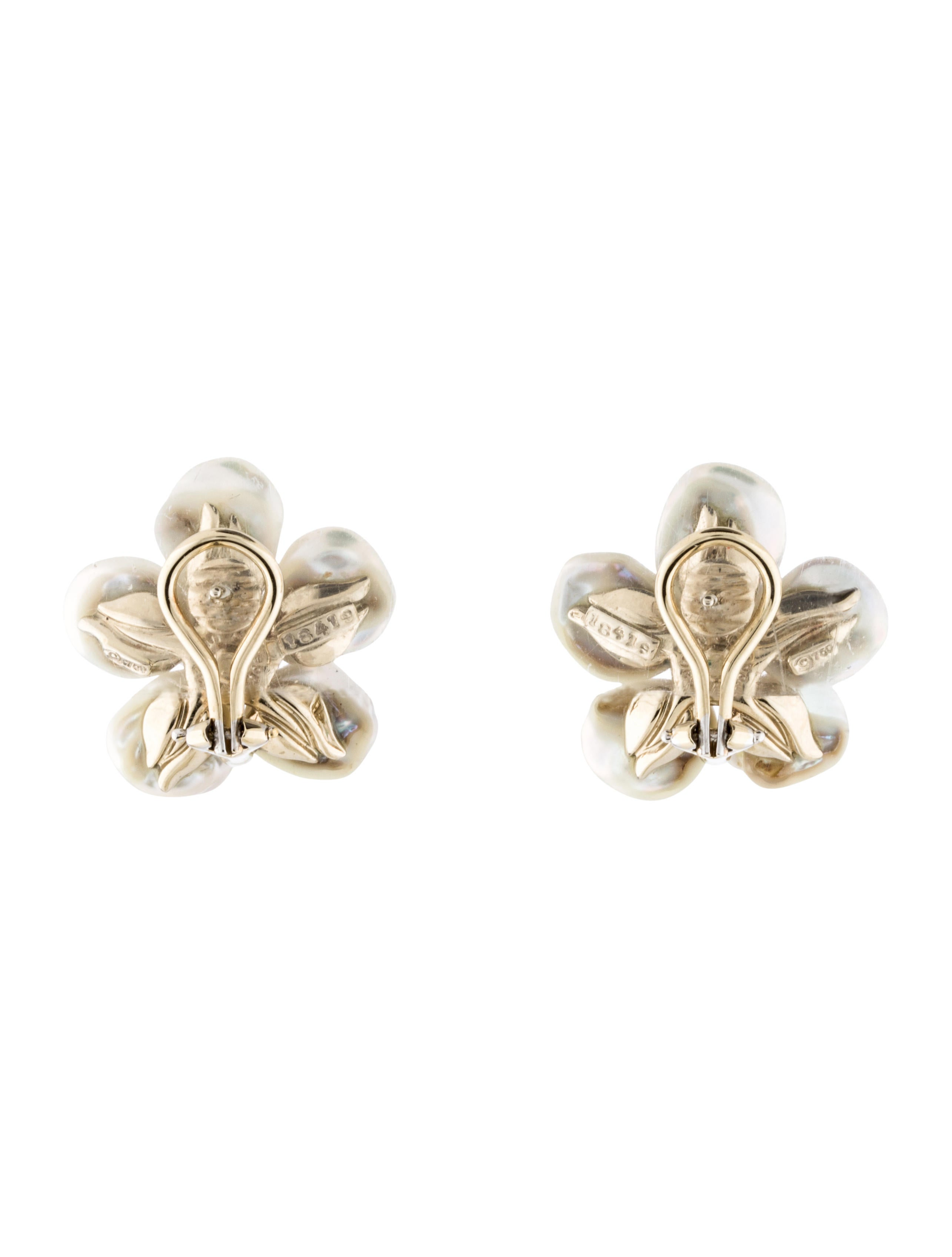 Mother Of Pearl, Diamond And Sapphire Flower Earrings