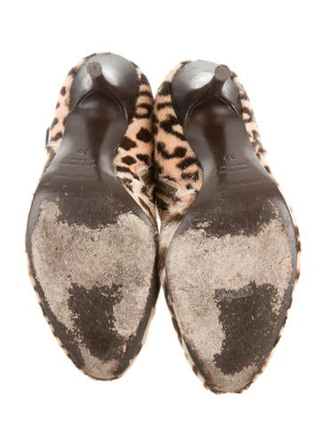 Ponyhair Leopard Ankle Boots