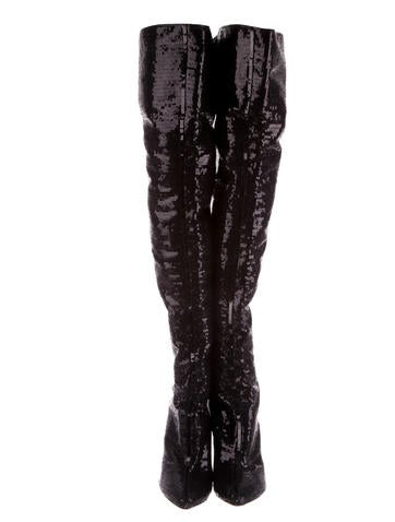 Sequined Pointed-Toe Over-The-Knee Boots