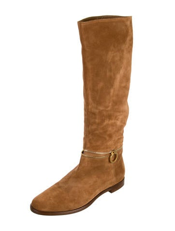 Suede Round-Toe Boots