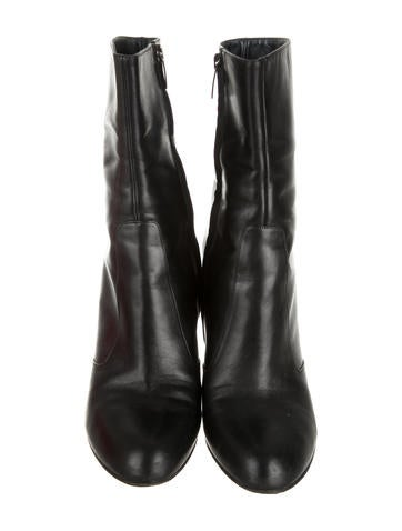 Leather Round-Toe Ankle Boots b
