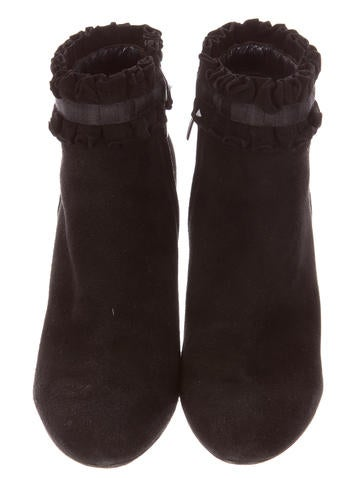 Suede Ruffled Ankle Boots