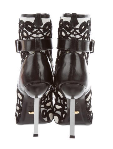Embroidered Peep-Toe Booties w/ Tags