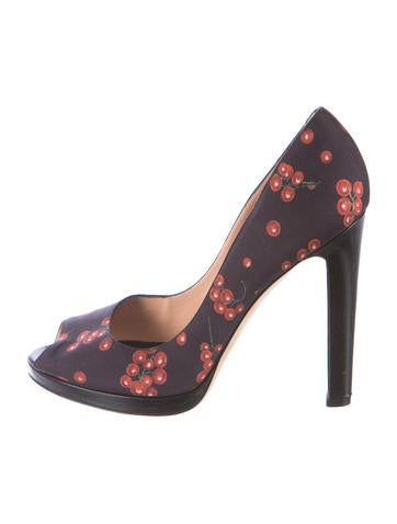 Sergio Rossi Cherry Print Peep-Toe Pumps None