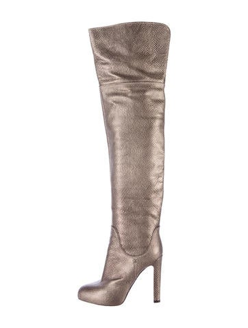 Metallic Leather Thigh-High Boots