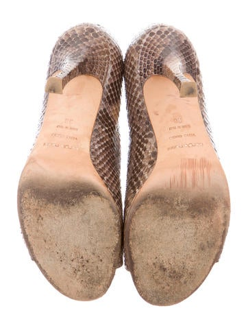 Snakeskin Peep-Toe Booties
