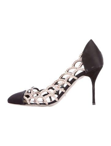 Sergio Rossi Satin Crystal Embellished Pumps None