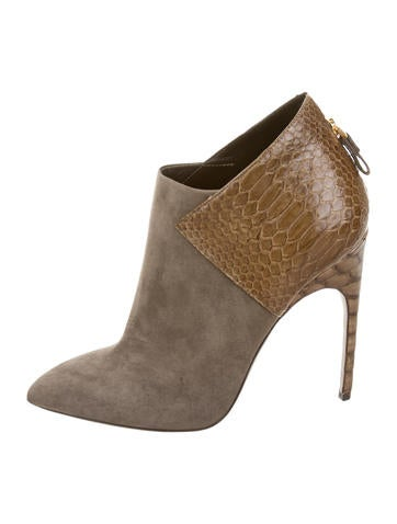 Python-Accented Suede Booties