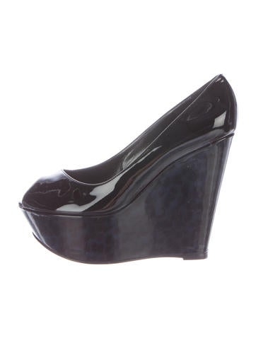 Sergio Rossi Patent Leather Peep-Toe Wedges None
