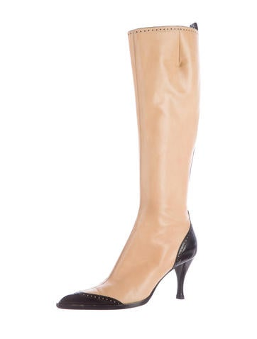 Perforated Knee-High Boots