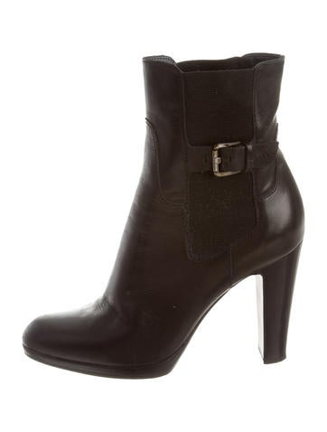 Leather Buckle-Embellished Ankle Boots