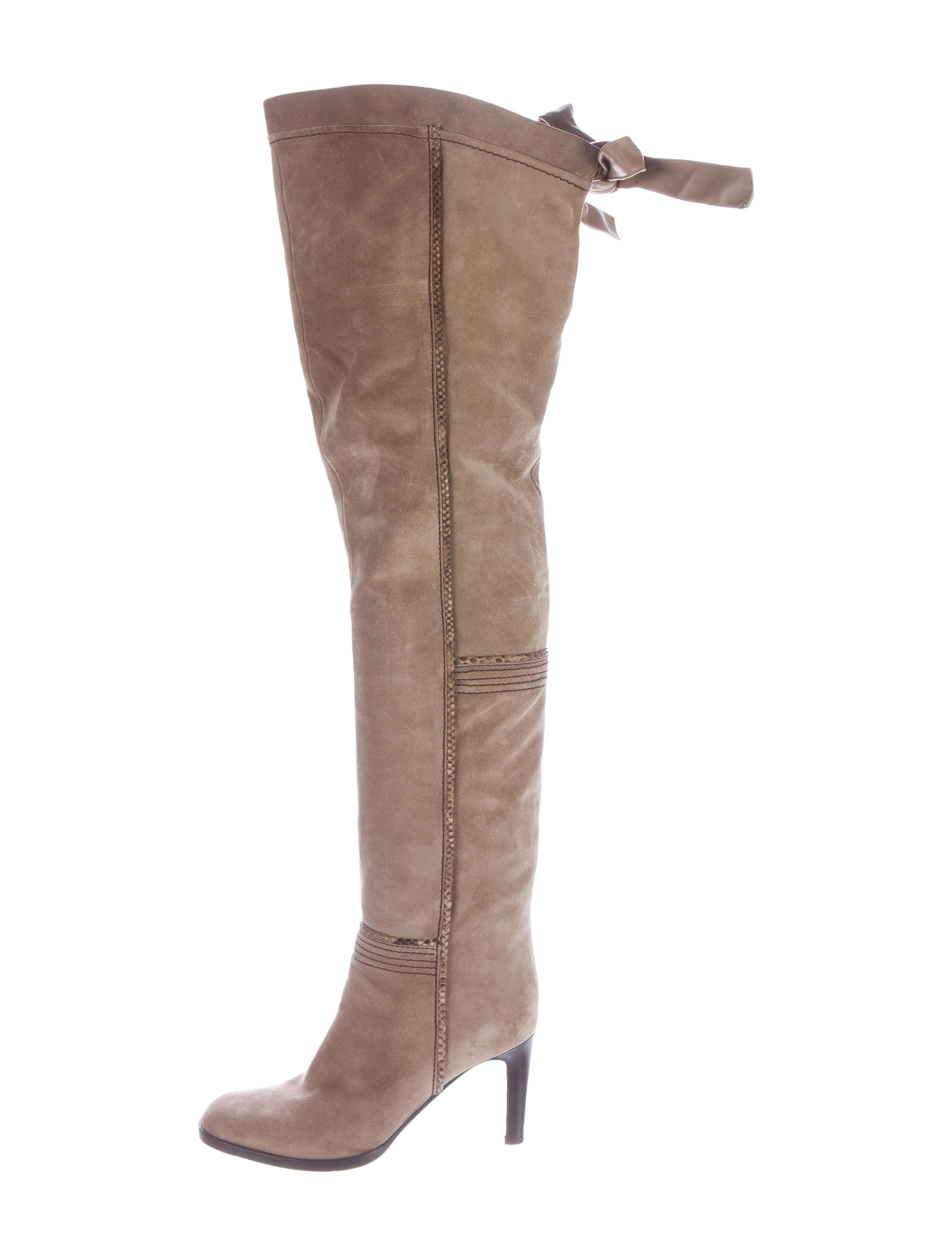 sergio snakeskin accented thigh high boots shoes