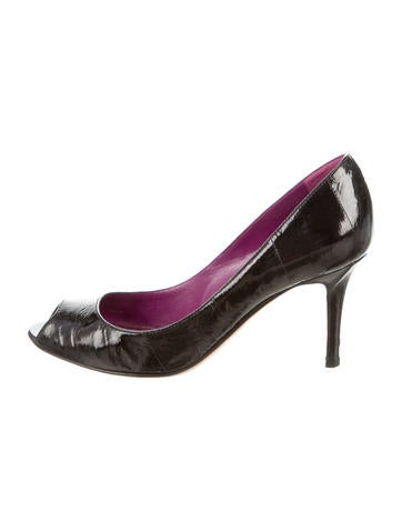 Sergio Rossi Patent Peep-Toe Pumps None