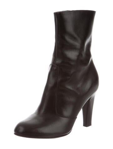 Leather Round-Toe Ankle Boots