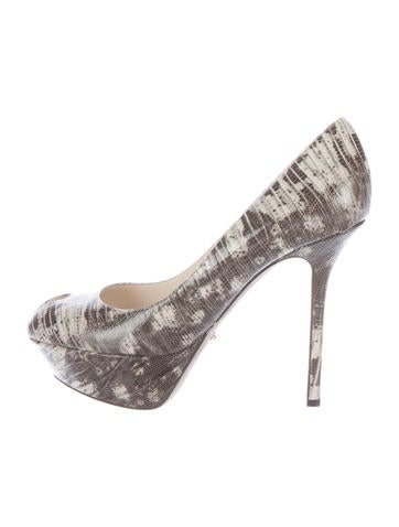 Sergio Rossi Embossed Peep-Toe Pumps None