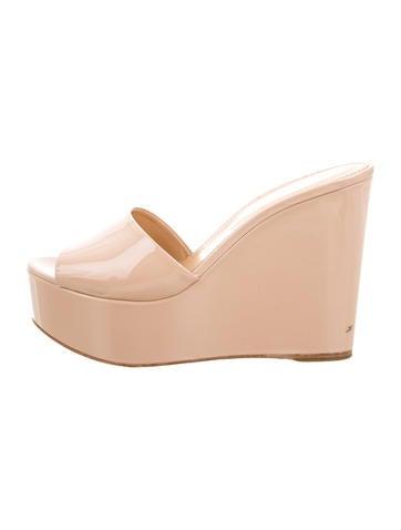 Sergio Rossi Patent Leather Slide Sandals None