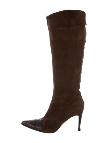 Sergio Rossi Crocodile-Trimmed Suede Boots