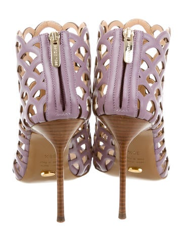 Scallop-Accented Cage Sandals w/ Tags