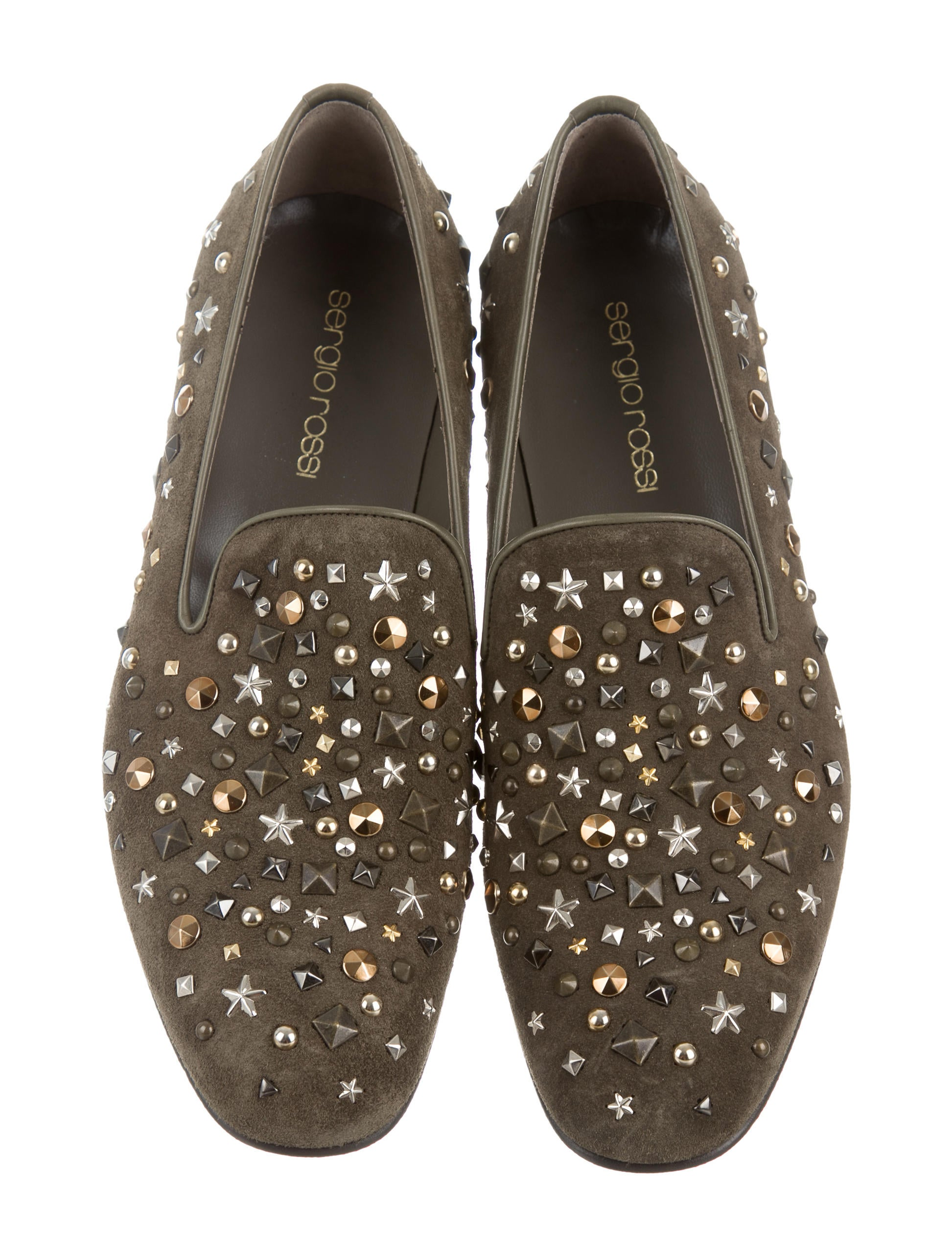 Sergio Rossi Embellished Suede Smoking Slippers Shoes