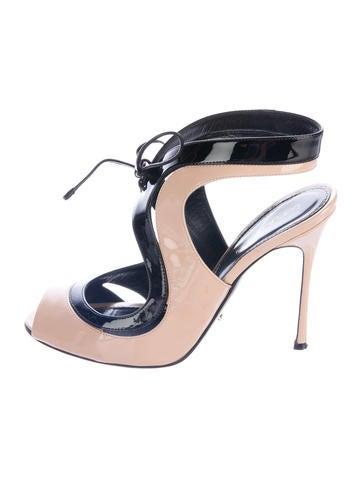 Sergio Rossi Patent Leather Peep-Toe Sandals None