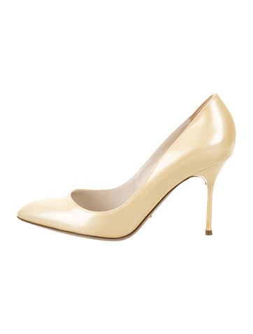 Sergio Rossi Patent Leather Pointed-Toe Pumps None