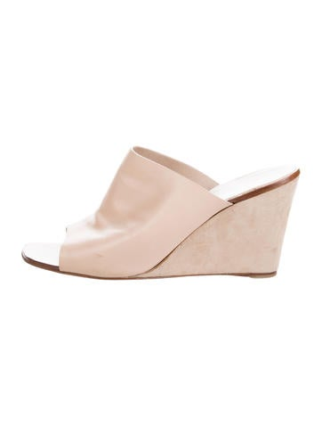 Sergio Rossi Leather Slide Wedges None